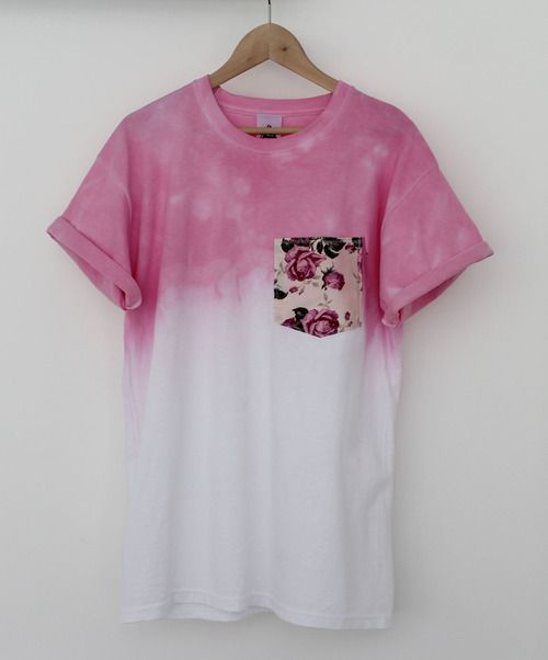 pink ombre shirt with floral pocket design. super cute