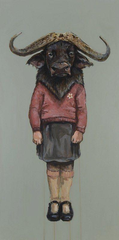 "Michael McConnell - ""Little Water Buffalo- Abundant Reverence"" 48"" x 24"" , acrylic on wood, 2010"