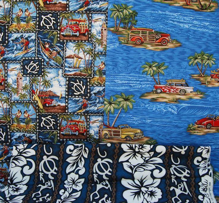 Collection of vintage Hawaiian print fabrics honu turtle, woody van, surfboards Hawaiiana fabric collection Trendtex R. Kaufman fabrics by vintageinspiration on Etsy