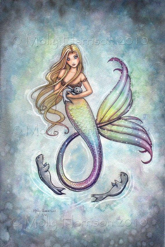Mermaid and Baby Seals Fine Art Print 9 x 12 Molly Harrison Fantasy Art Watercolor Print
