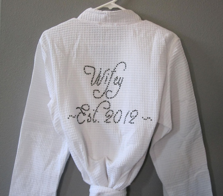 Robe, Wedding Party Gifts, Bridal Shower Gift, Bridal Gifts, Personalized Gifts for Brides, Mother of the Bride Gift, Custom Bejeweled Robe. $35.00, via Etsy.
