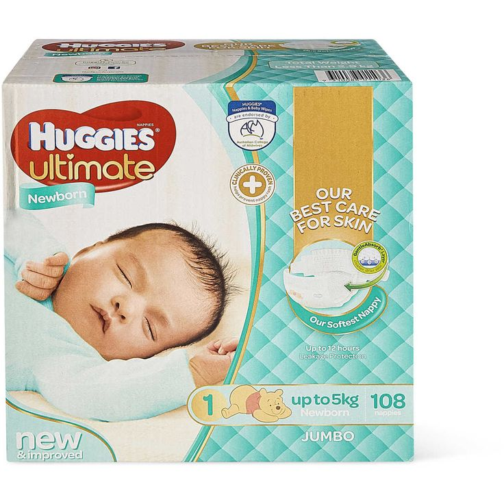 Huggies ultimate nappies in newborn size. With a unique 3d ultra absorb layer to quickly draw moisture runny bowel movements away from babies skin. Only Huggies nappies are clinically proven to help prevent nappy rash. Up to 12 hours leakage protection.