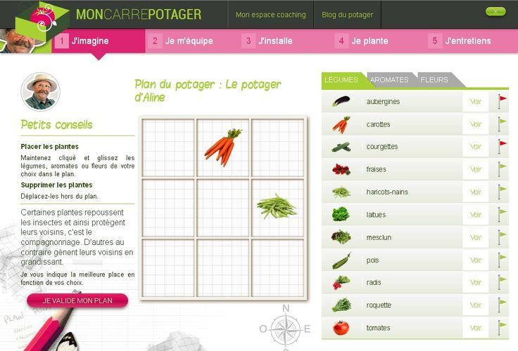 Principe du site moncarrepotager.com :   On commence par faire un plan de son futur carré potager en choisissant des légumes, des aromates et des fleurs.   Il suffit de faire glisser les plantes choisies dans le plan. Simplissime !