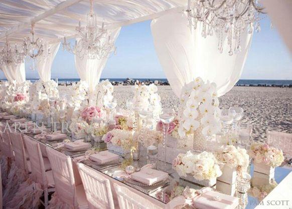 Pink And White Beach Wedding Reception Decoration