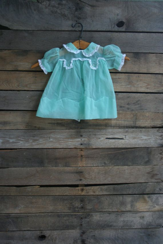 Vintage Children's Sheer Green Floral Dress Size 9 by vintapod