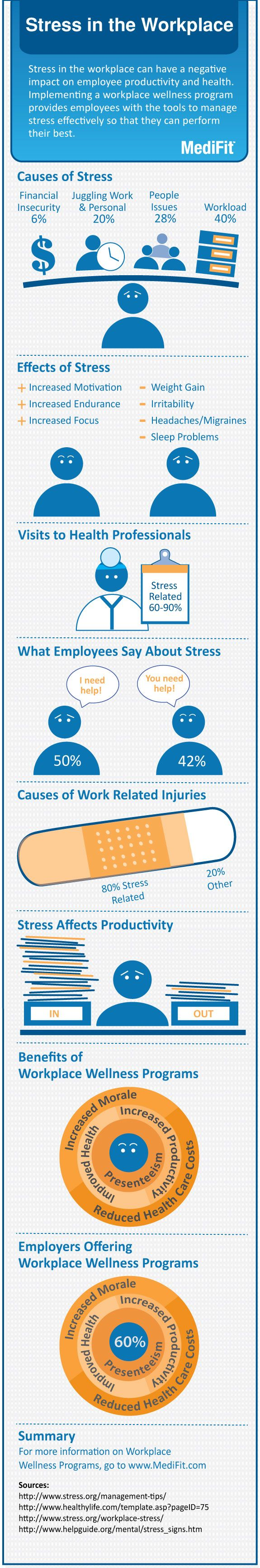 Workload is a major factor in work place stress among workers. Implementing a workplace health and wellness program can lower stress and increase prod