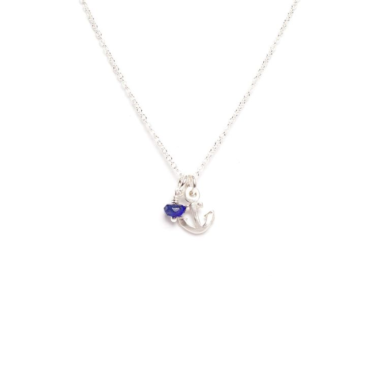Anchor Sterling Silver Pendant with Gemstone Necklace by Marmalade Design