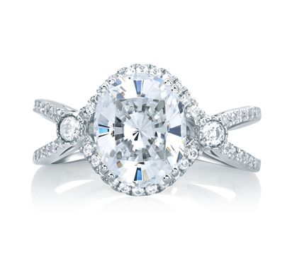A. Jaffe Deco Double Shank Bubble Prong Engagement Ring with Oval Center Diamond. www.pollocksjewelers.com