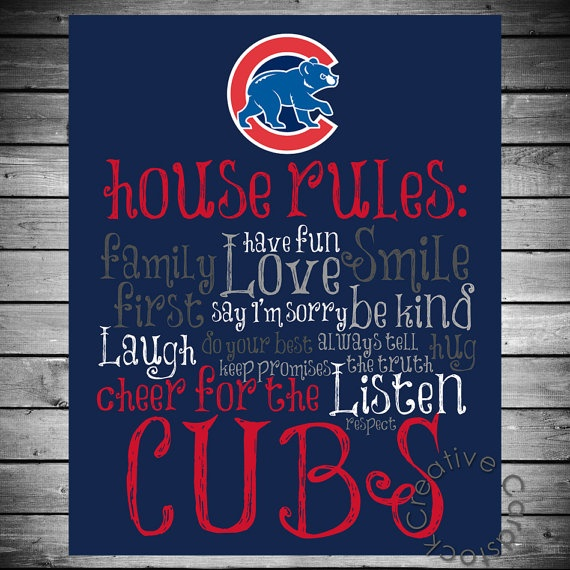 Chicago Cubs House Rules  8x10 Printable by CreativeCardstock, $12.50