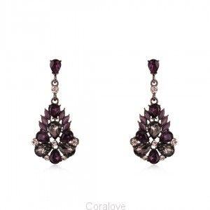 Fioletowe eleganckie kolczyki z kryształkami na sztyfcie (5,3cm) Coralove.pl