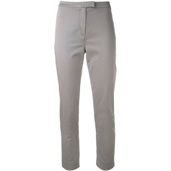 Eleventy Super Skinny Cropped Trousers ($204) ❤ liked on Polyvore featuring pants, capris, white skinny pants, skinny pants, white crop pants, super skinny pants and cropped pants
