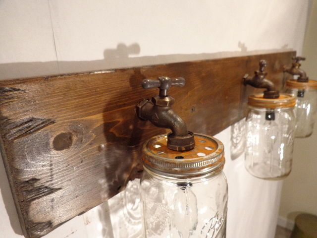 Mason Jar Vanity Light Fixture, Country Primitive, Rustic Wood, Vintage Style   rustic mason jar country shabby chic vintage