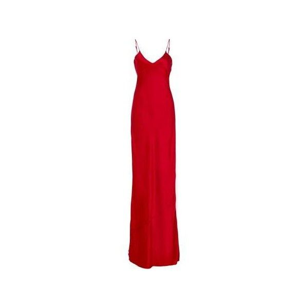 Nili Lotan Spanish Red Silk Cami Gown ❤ liked on Polyvore featuring intimates, silk cami, red camisole, silk camisole, red cami and nili lotan