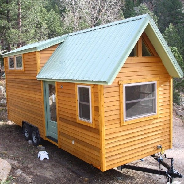 Aspen Tiny Home By Simblissity I Love The Aqua Metal Roof 180 Sg Ft Plus 80 In Loft JUst Saw This One On House Hunters And That Fridge