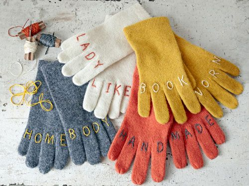 "Get ready for cool weather with these DIY ""knuckle tattoo"" gloves.Book Worms, Witty Gloves, Gift Ideas, Knuckle Tattoos, Diy Gift, Country Living, Christmas Gift, Crafts, Embroidered Gloves"