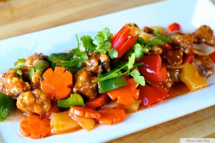 Sweet and sour pork complimented with lots of vegetables