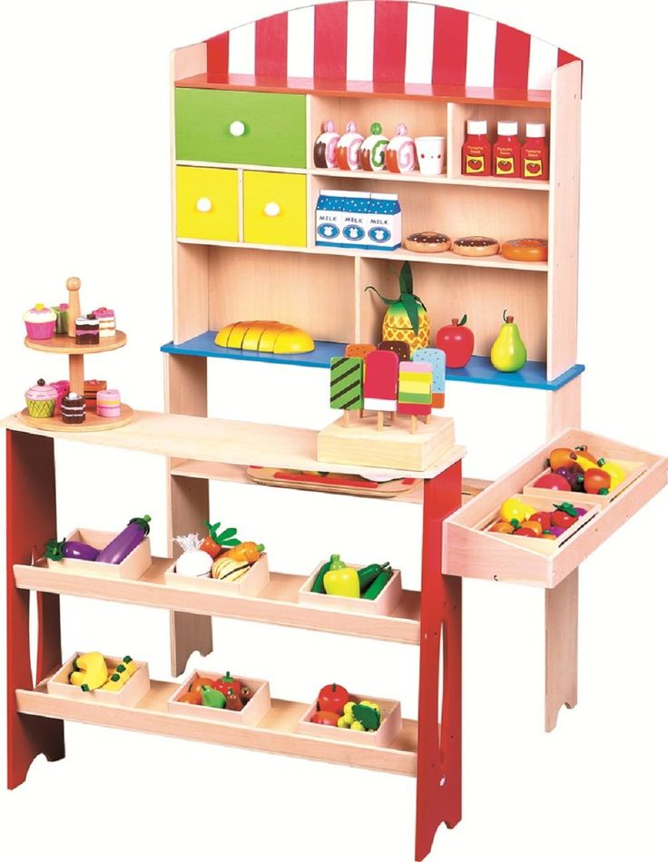Good LELIN WOODEN WOOD CHILDRENS KIDS CORNER VILLAGE SHOP SHOPPING SUPERMARKET  UNIT (accessories In The Photos