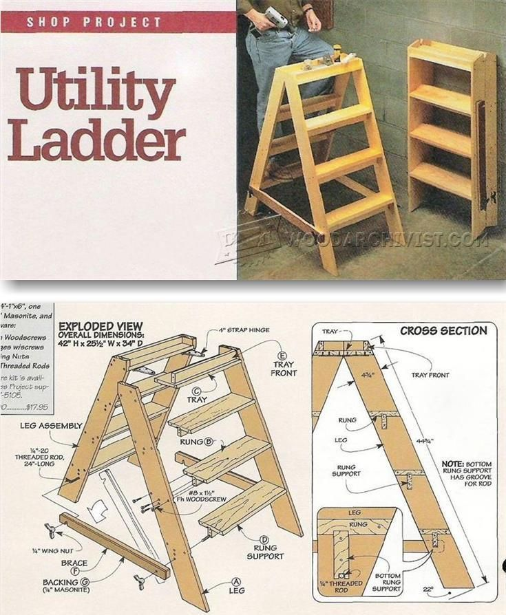 Wooden step ladder plans workshop solutions projects for Ladder project