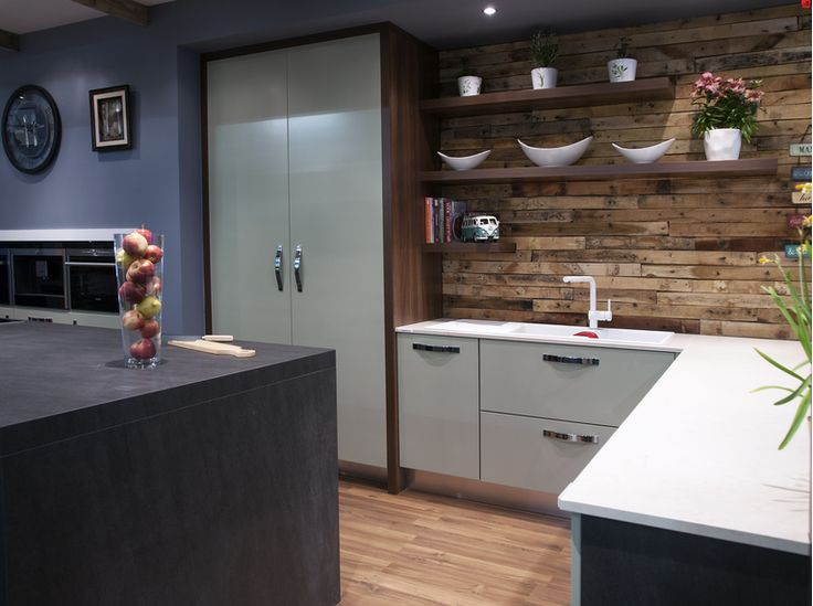 Timber Cladding And Open Shelving Turn A Plain Kitchen Wall Into A Striking Feature This