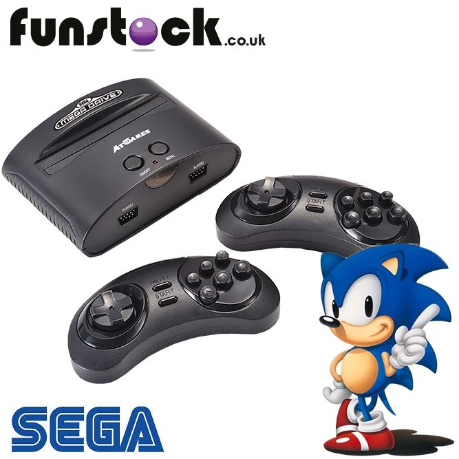 """The SEGA Wireless Mega Drive is the perfect gift for retro game fans, or anyone who owned the console in their youth - this is a wireless, fully-functioning Mega Drive console with a whopping 80 built-in games, and a cartridge slot to use your old carts! Two wireless controllers are included for multiplayer fun.  http://www.funstock.co.uk/sega-megadrive-classic-wireless-console-80-games  Use code """"PINFUN"""" for 5% off!  #retrogaming #gaming #megadrive #sega #sonic #giftideas #christmas"""