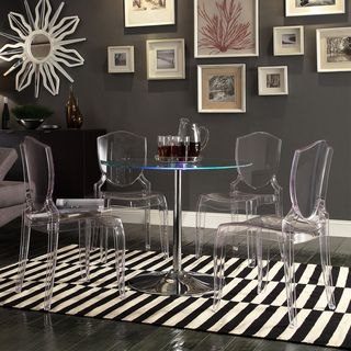 Inspire Q Lorin Led Round Crystal Clear Dining Table By