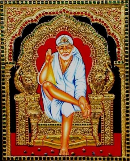 Sai Baba See Tanjore paintings at https://www.madhurya.com/tanjore-paintings.html #tanjorepaintings #madhurya