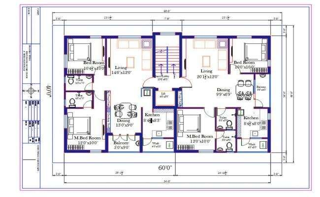 60x40 Ft Apartment 2 Bhk House Furniture Layout Plan Autocad Drawing Apartment Floor Plans How To Plan Duplex Floor Plans