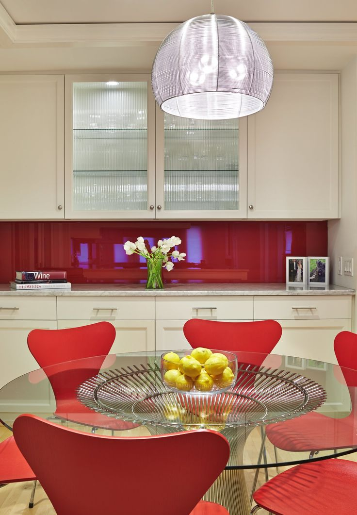 Platner Table + red series 7 chairs