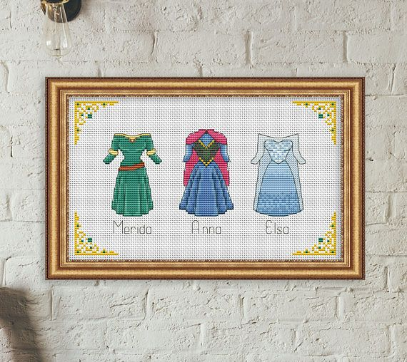 Disney cross stitch pattern Disney princess dress cross stitch
