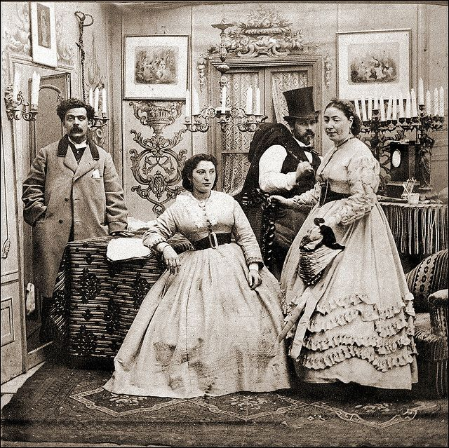 Half of a genre stereoview, ca. 1860-70 civil war era fashion