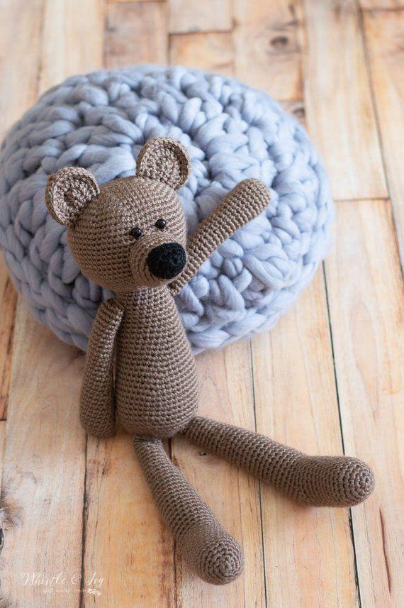 CROCHET PATTERN: Poca the Bear Stuffy Stuffed Animal Teddy | WIth his cute nose …