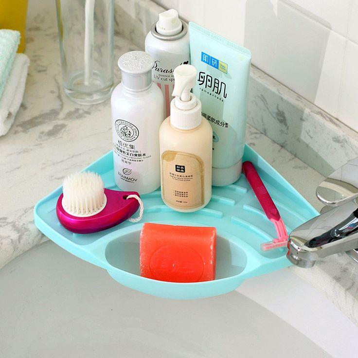 Kitchen sink angle sponge frame soap dish triangular drain storage rack plastic soap box bathroom accessories soap holder