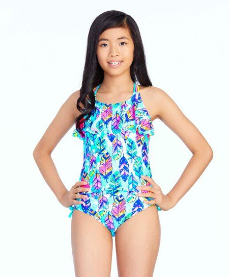 5cc1afef0b She ll love the bold style and coverage this statement two-piece tankini  provides while UPF 50+ keeps her protected from the sun s rays.