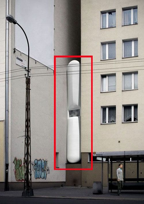 Etgar Keret's House – perhaps the narrowest building in the world...He will have an area of 14.5 m2 at his disposal – the width of furniture is limited to 1.22 metres to allow passage. The entrance steps descend and retract by remote control.  designed by Jakub Szczęsny of Centrala // #narrow #interstitial #polandJakub Szczęsni, Architecture, Small Spaces, Centrala, Jakub Szczesny, Buildings Spaces, Keret House, Design, Thinnest Flats