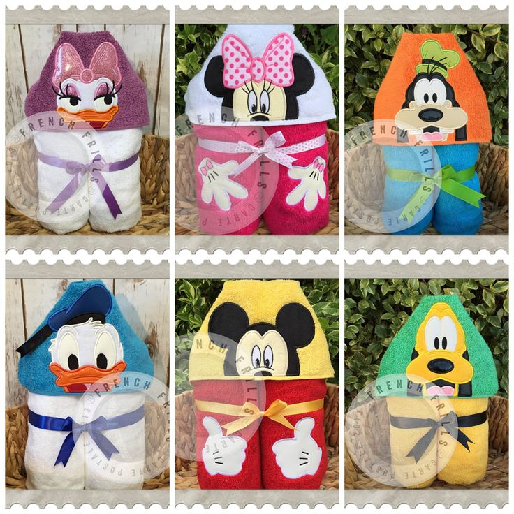 Clubhouse Friends Applique hooded towel design. #Embroidery