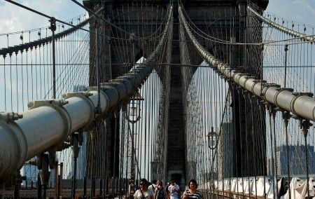 Estructura de cables del puente de Brooklyn en Nueva York