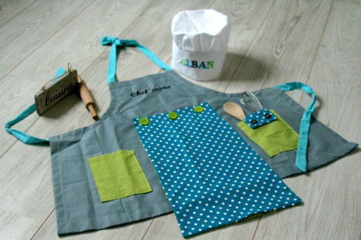 tablier et toque de cuisine pour enfant