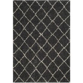 Safavieh Arizona Shag Shiloh Anthracite/Beige Rectangular Indoor Machine-Made Southwestern Area Rug (Common: 5 X 7; Actu