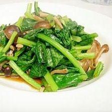 中華の副菜に 小松菜としめじのオイスターソース炒め