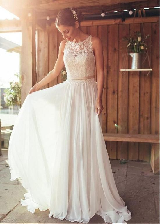 Attractive Chiffon Jewel Neckline A-line Wedding Dresses With Beaded Lace Appliques