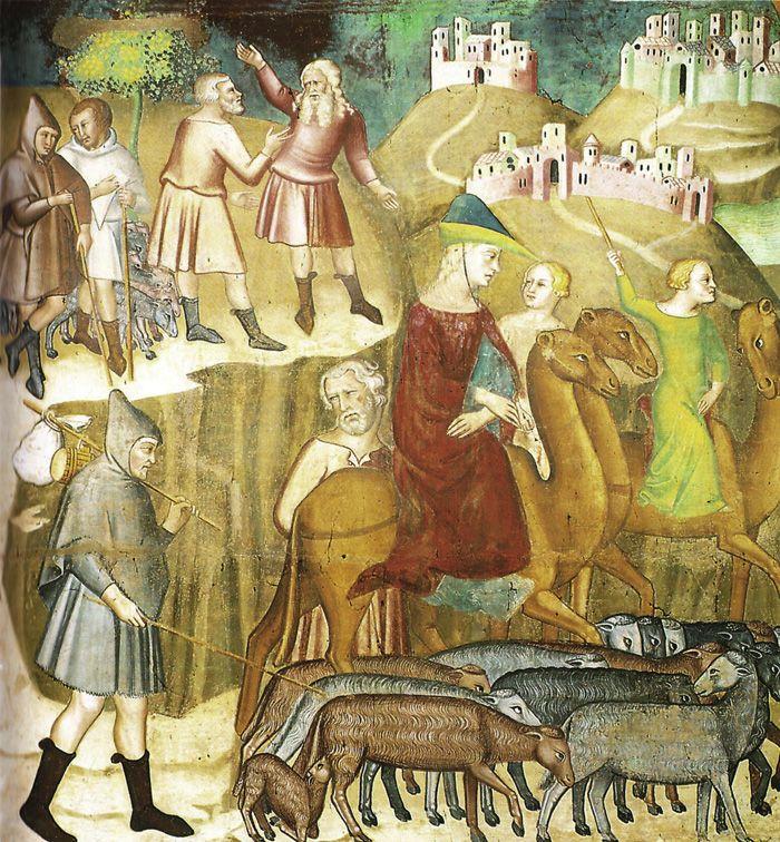 Bartolo di Fredi, Abramo si divide da Lot nella terra di Canaan, affresco, Duomo, San Gimignano | 14th century>>sheep; carry-cloth on pole;