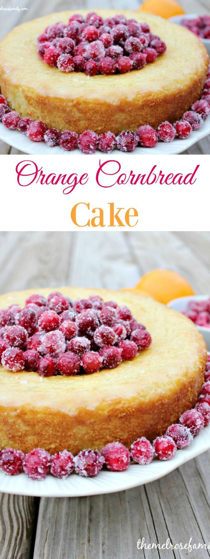 Orange Cornbread Cake with Orange Glaze and sugared Cranberries is perfect dessert for any occasion.