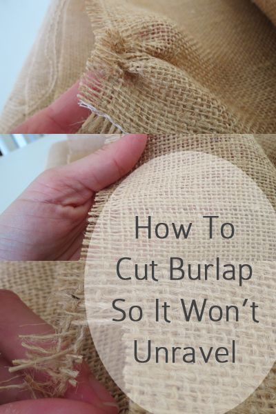 How to Cut Burlap - Here is the trick to cutting burlap with scissors.  Choose a thread line that you want to be your edge.  Pull on that thread until you have pulled it all the way out, and you have a long strip where the thread once was.  You may need to use your scissors a few times to get the thread out all the way.