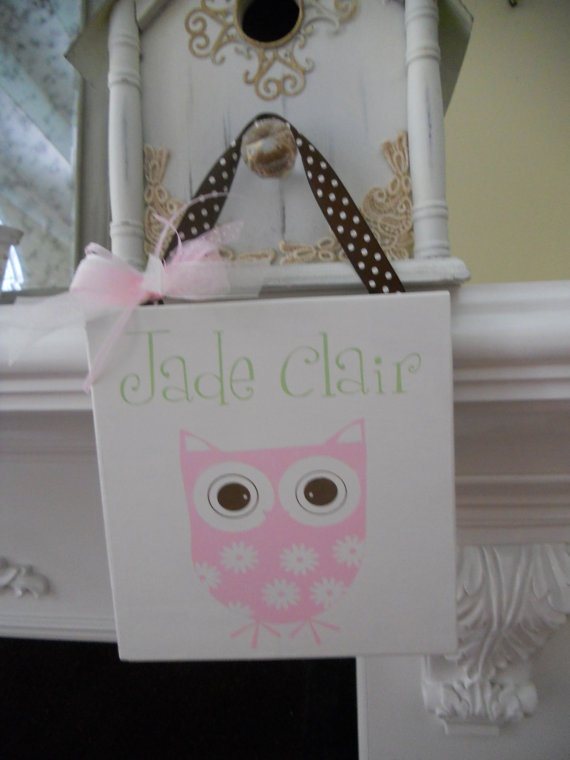 Pink Owl nursery sign