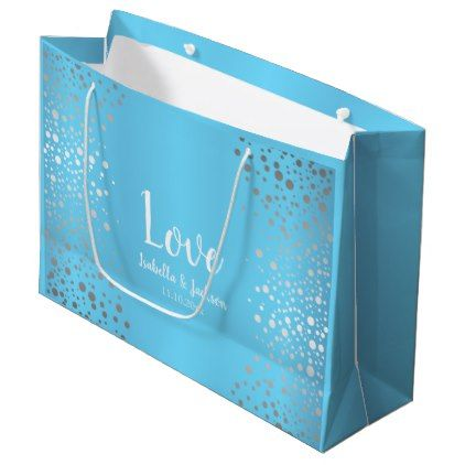 Baby Blue and Silver Confetti Dots Large Gift Bag - anniversary gifts ideas diy celebration cyo unique