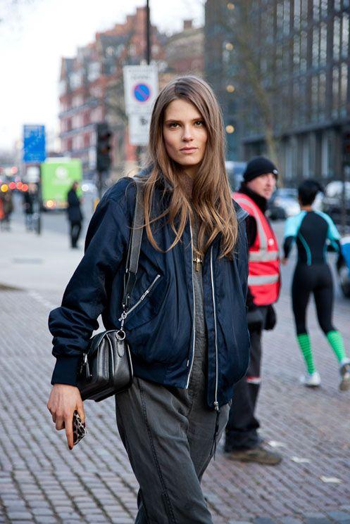 boiler suit & bomber. #CarolineBraschNeilsen #offduty in Stockholm.| @andwhatelse