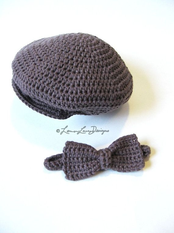 Custom Newsboy cap and bow tie organic baby by LemonLaneOrganics