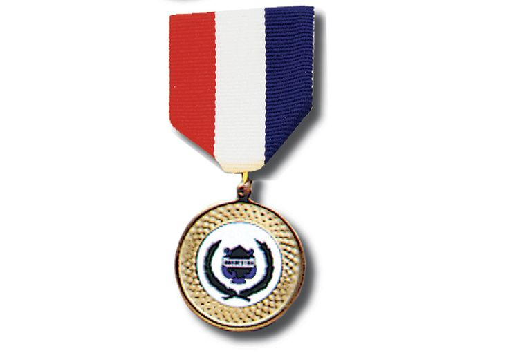 """RIBBON MEDAL Band - 1¾"""" heavy plastic with gold coating medal on a red, white and blue ribbon with clasp pin back. In lucite presentation box."""