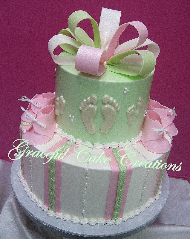 Pink Mint Green And White Baby Shower Cake With Booties