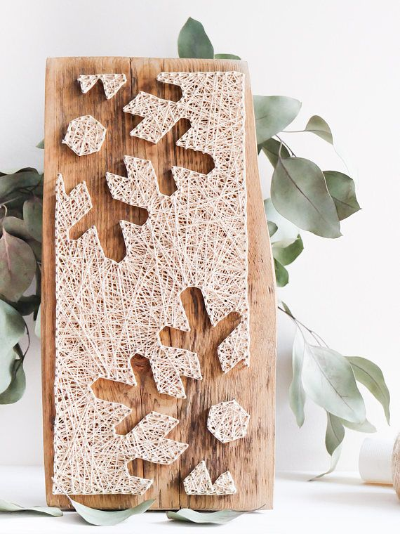 Modern snowflake silhouette minimalist string art winter wall décor for living or dining room, Easter decor gift idea, reclaimed wood art